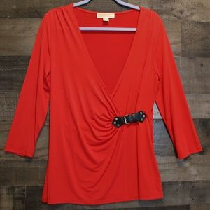 Michael Kors Red Tunic Length Top